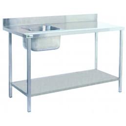 TABLES DE CHEF AVEC ÉVIER A GAUCHE • Avec dosseret 2000*700 AFI COLLIN LUCY CHR BEST