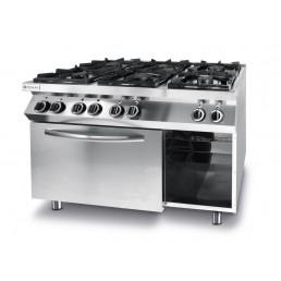 Cuisinière Kitchen Line - 6 feux avec four à convection électrique GN 1/1 HENDI CHR BEST