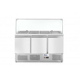 Saladette 3 portes avec vitrine réfrigérée en verre 570L HENDI CHR BEST