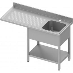 plonge adossée 1 bac (D) avec passage réfrigérateur ou lave-vaisselle 1300x700x900 mm soudée STALGAST CHR BEST